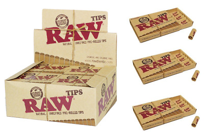 RAW Pre Rolled Rolling Tips - Box 20 PACKS -  Chemical Free Natural 21 Tips Pack
