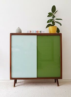 Stylish Mid Century Green Glass Sideboard Bookcase Cabinet 1960s Retro Vintage