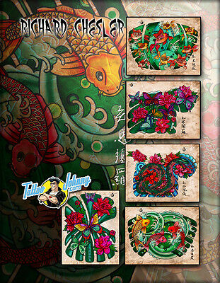 (Laminated) Tattoo Johnny Rich Chesler Oriental Traditions Flash Set