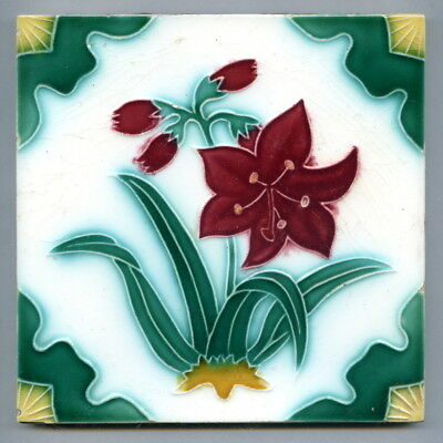 "Relief moulded 6"" square Japanese tile by unidentified maker, c1920s"