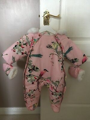 Ted Baker Pink Flight of the Orient Snowsuit 0-3 Months BNWT Shower Resistant