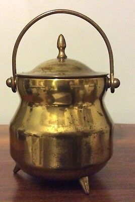 Vintage Brass Smudge Pot / Fire Starter Cauldron Kettle with Lid / Tri-Footed