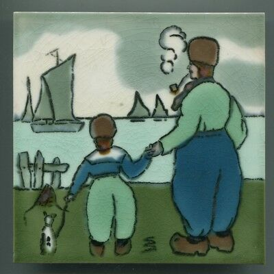 "Block printed 6"" square tile with Dutch scene by Henry Richards, 1930"