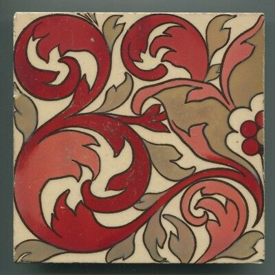 """Block printed and triple lustre 6"""" square Victorian tile by Maw & Co, c1900"""