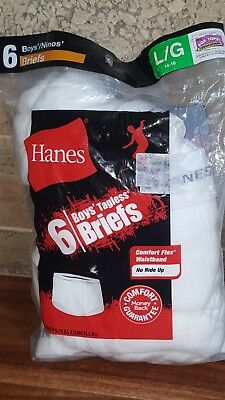 NEW Hanes Tagless No Ride Up Boys Brief Pack of 6 White L/G 14-16  FASTSHIPPING!