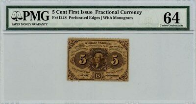 Fr. 1228 Five Cent 5c 1st Issue Fractional Currency Ch Unc64 PMG
