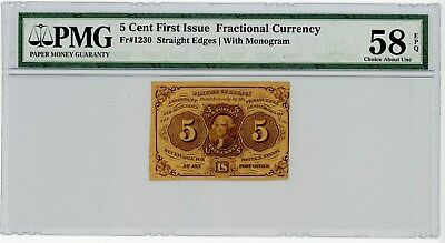 Fr. 1230 Five Cent 5c 1st Issue Fractional Currency Ch AU58 EPQ PMG