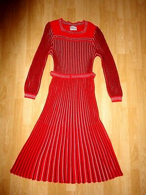 TRICOVILLE vintage 70s 80s red silver striped long sleeve jumper dress S 8 10