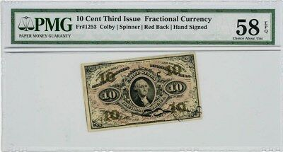 Fr. 1253 Ten Cents 10c 3rd Issue Fractional Currency Ch AU58 EPQ PMG