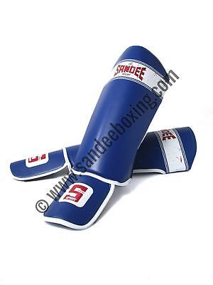 Sandee Sport Velcro Blue & White Synthetic Leather Boot Shinguard