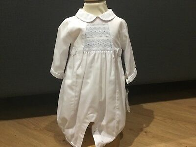 BNWT Boys White and Blue Christening Romper by Sarah Louise Style 219 Age 3m