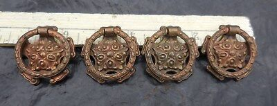 (4) Antique Fancy Brass Drawer Ring Pulls Knob Single Screw G391 Gothic Spanish