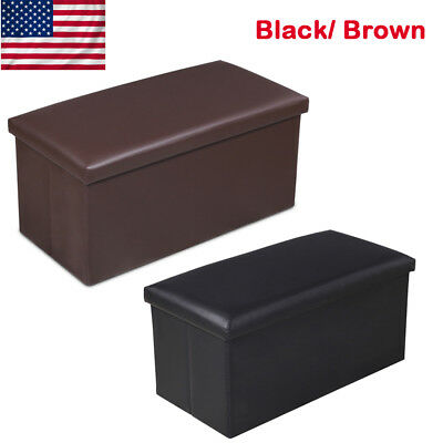 Folding PU Leather Ottoman Storage Seat Foot Stool Living Room Furniture Bench