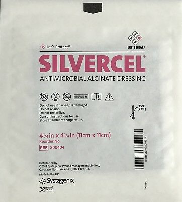 "(10)  SILVERCEL Antimicrobial Alginate Dressings with Silver  4-1/4"" x 4-1/4"""