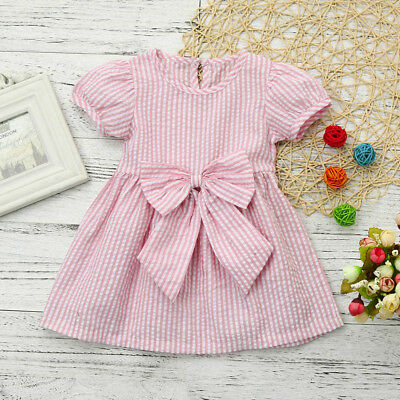 Kids Baby Girls Toddler Kids Clothes Stripe Bow Princess Outfits Summer Dress US