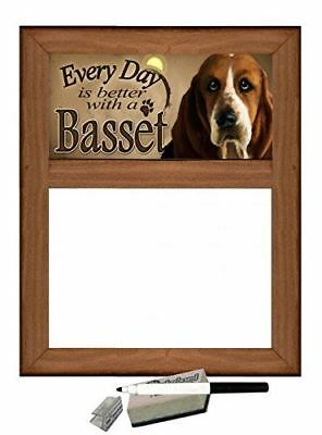 """Basset Hound - Dog Themed Dry Erase Marker Board """"Every Day is Better with a Bas"""