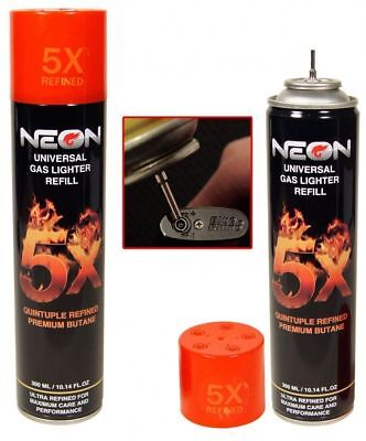 NEON Premium Butane - 1 Can - Torch Lighter Fluid 5x Refined Fast 300ML 10oz