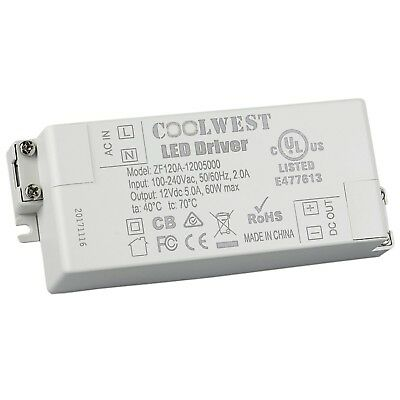 COOLWEST 60W 12V Power Supply Driver Transformer for LED Flexible Strip Light...