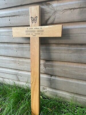 "wooden memorial cross free plaque and engraving 17"" grave marker burial"