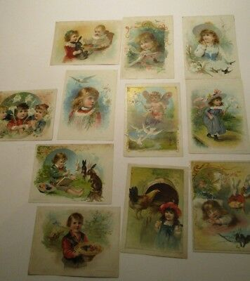 Lion Coffee Victorian Trade Cards Easter Lot of 11 Large 5 X 7Cards