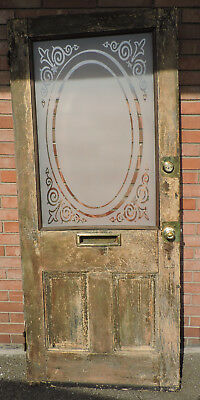 "ANTIQUE 84"" x 36"" ENTRY DOOR WITH FROSTED ETCHED GLASS MAIL SLOT"