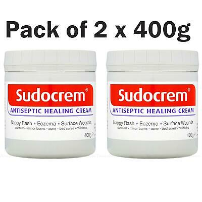 Sudocrem Antiseptic Healing Baby Cream Rash Eczema Acne Wounds Pack of 2 x 400g