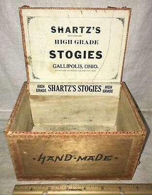 Antique Shartz's Wood Cigar Box Vintage Tobacco Gallipolis Ohio Oh Stogies Old