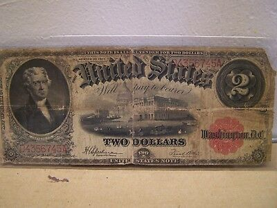 Series of 1917 $2.00 United States Note as Pictured - Free Shipping