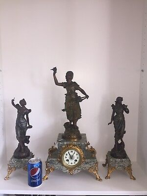 Antique French Art Noveau Marble Clock Set Garniture. C1900.