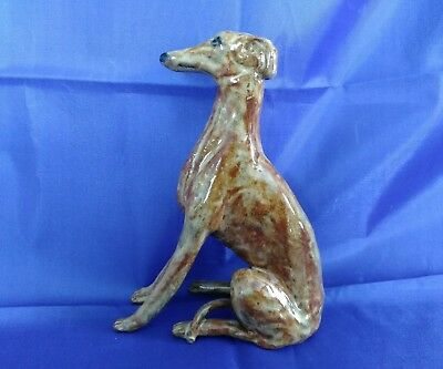 Whippet Greyhound Dog Stoneware Figurine Sculpture Artist Signed OOAK
