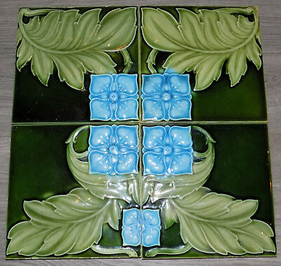 4 Tile Panel  Art Nouveau Majolica Molded Design Alfred Meakin Ltd Early C1900's