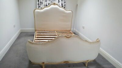 Vintage Demi Corbeille French Antique Double Bed with Slats