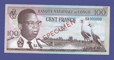 Gem Uncirculated 100 Francs 1962 Specimen Banknote From Congo !!!!!