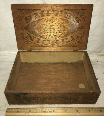 Antique Smiths Nickel Wood Cigar Box Vintage Tobacco Old Country General Store