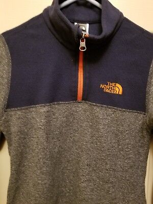 THE NORTH FACE Boys Size Small S (7/8) Gray & Navy Blue  1/4 Zip Fleece Pullover