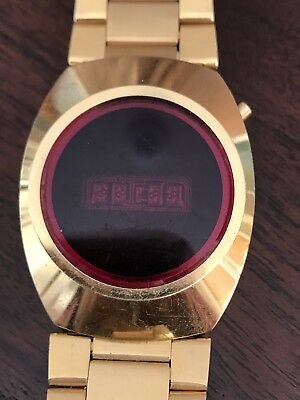 Vintage Red LED Gold Tone Watch- for parts or repair