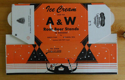 VINTAGE A&W ROOT BEER PINT ICE CREAM CARTON Baraboo Wi