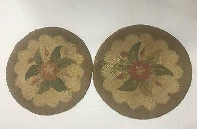Antique Vtg Victorian Tapestry Seat Cushion Stool Chair Cover Needlework Floral