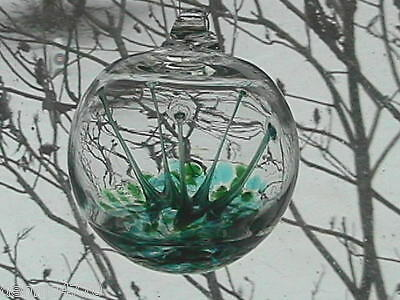"Hanging Glass Ball 4"" Diameter Green & Aqua Tree Witch Ball (1) HB28"