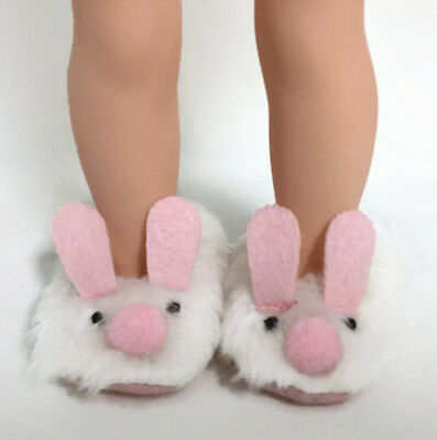 "BUNNY RABBIT Slip-On DOLL SLIPPERS fits American Girl 14.5/"" WELLIE WISHERS DOLL"