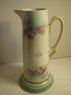 """LARGE Antique Austrian Hand Painted Ewer Pitcher 12"""" Tall Marked"""
