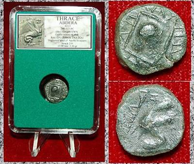Ancient Greek Coin ABDERRA THRACE Apollo and Griffin seatedon club Bronze