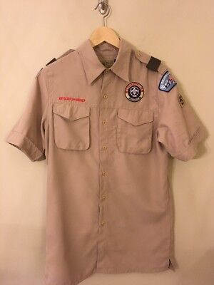 Boy Scout Uniform Shirt Adult Small Shirt Sleeve With Patches