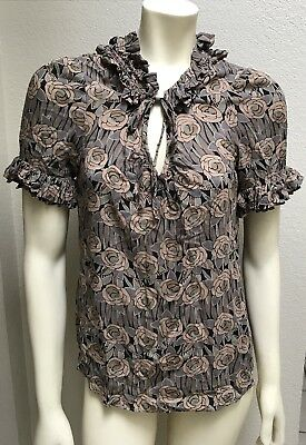 be00ae44 Anthropologie Odille Women's Blouse Top 8 Bianka Floral Rose Print Browns  Ruffle