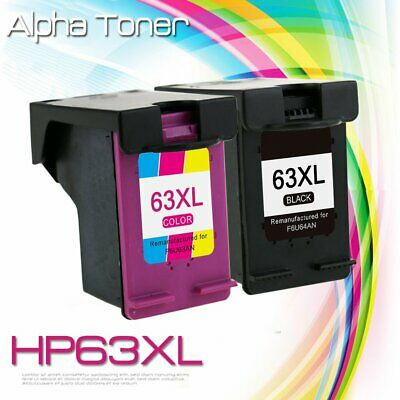 2 #63 XL Printer Ink 63 XL for HP OfficeJet 3830 4650 4655 5252 5255 5258 5264