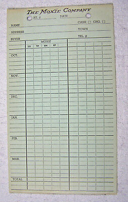 Vintage THE MOXIE COMPANY Monthly Ledger Sheet - Unused