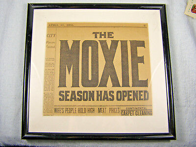 Early 1902 Original MOXIE Newspaper Advertising - Framed