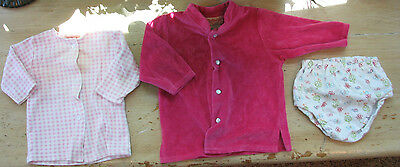 Zutano 0-3 Month 3pc Lot Hot Pink Velour Jacket, Floral Diaper Cover & Pink Ging