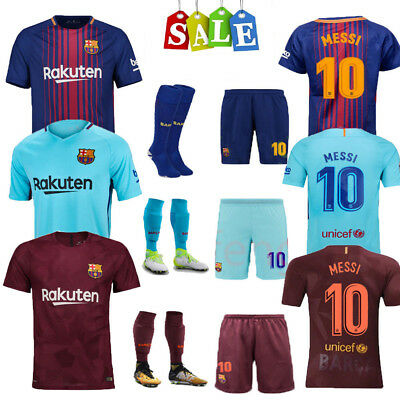 17/18 Football Soccer Messi Jersey Short Sleeve+Socks for 3-14Y Kids Suit+Socks