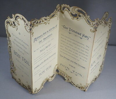 "19Th Century Bon Ton Lancaster Pa Cardboard Advertising Fold-Out 16"" X 9 3/4"""